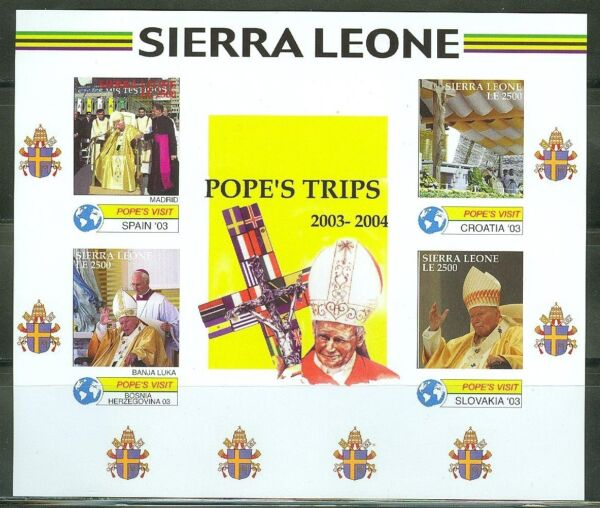 SIERRA LEONE   IMPERF POPE JOHN PAUL II  TRIPS  200304  SHEET SC#2837   MINT NH $39.95