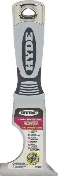 NEW HYDE TOOLS 06986 6 IN 1 STAINLESS STEEL PRO PAINTERS TOOL SCARPER 6816037