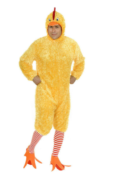 ADULT MENS YELLOW FUNKY CHICKEN BIRD FARM ANIMAL COSTUME ROOSTER COCK MASCOT
