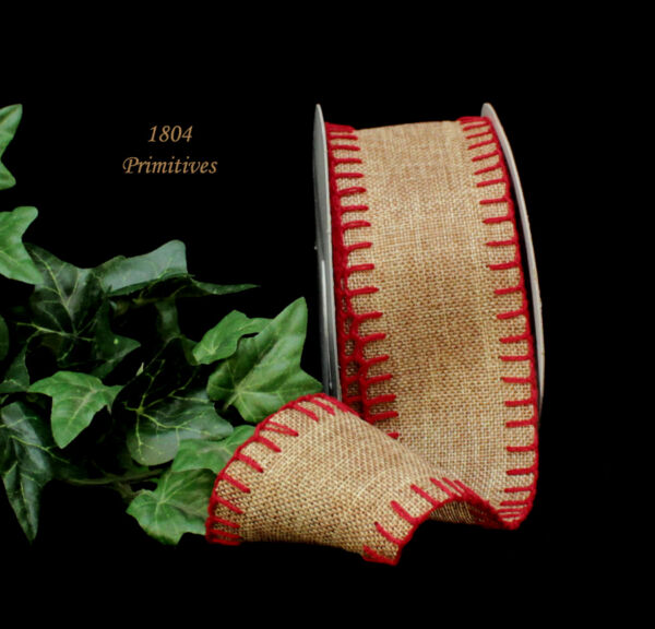 10 Yards Natural Burlap Ribbon w RED Blanket Stitched EDGES ... 2 1 2quot; wide