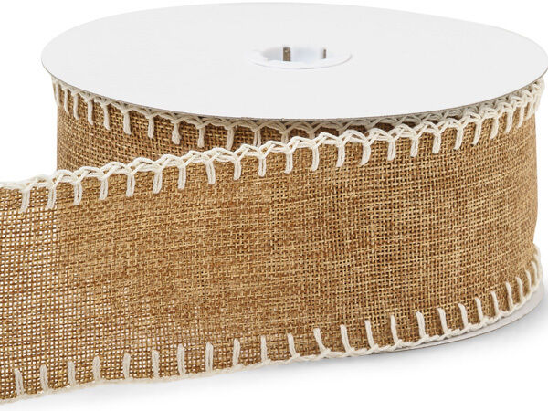 10 Yards Natural Burlap Ribbon w Cream Blanket Stitched EDGES ... 2 1 2quot; wide