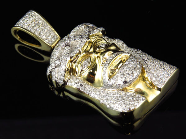 Mens 10K Yellow Gold Premium Genuine Diamond Polished Jesus Piece 2.0