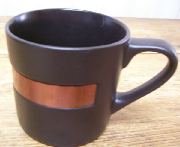 Starbucks Est Established 1971 Black Copper Band Coffee Mug Cup