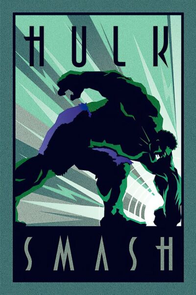 THE INCREDIBLE HULK - MARVEL POSTER / PRINT (ART DECO DESIGN) (HULK SMASH)
