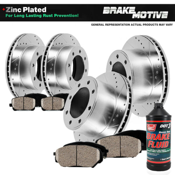 Front+Rear Drill Slot Brake Rotors And Ceramic Pads Chevy Silverado GMC Sierra