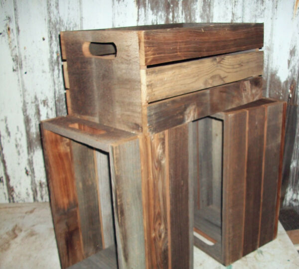 Reclaimed Barn Wood Crate Shelf Rustic Urban Box Wooden Media Cut Out Handles