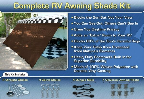 RV Awning Shade Kit RV Shade Complete Kit 8x16 Brown