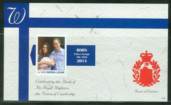 SIERRA LEONE  2013 BIRTH OF PRINCE GEORGE  SOUVENIR SHEET IMPERF MINT NH $39.95