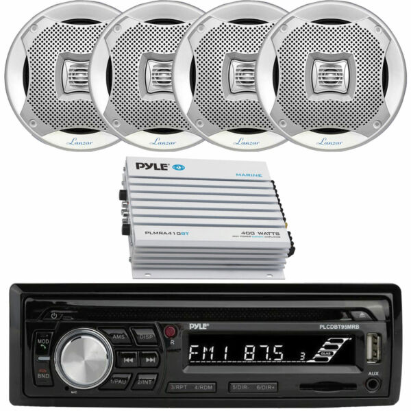 Marine 6.5quot; Speakers Dual MXD340 Bluetooth USB Marine Receiver 4CH Amplifier $220.99