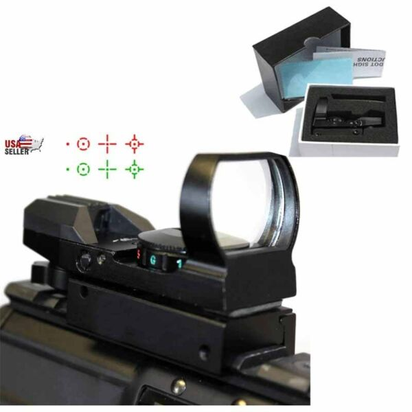 Red Dot Sight Reflex Green Holographic Scope Tactical Mount 20mm Rails BLK