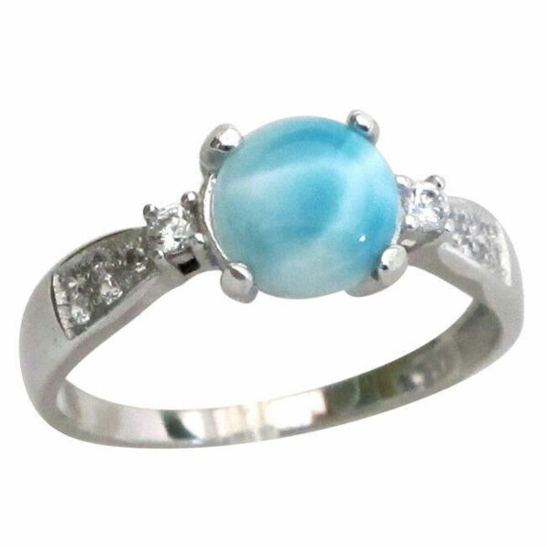 LOVELY GENUINE LARIMAR 925 STERLING SILVER RING SIZE 5-10