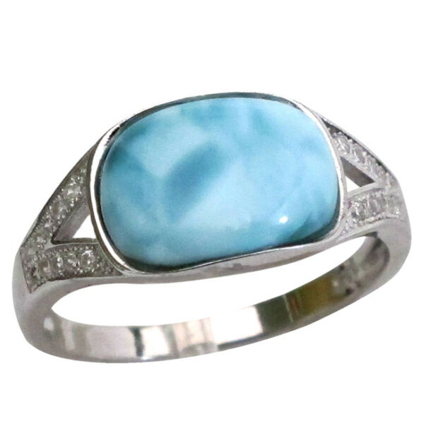 CHARMING GENUINE LARIMAR 925 STERLING SILVER RING SIZE 5-10