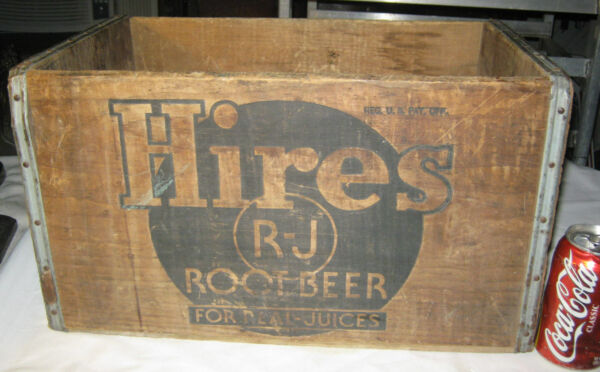 ANTIQUE HIRES ROOT BEER SODA BOTTLE ART ADVERTISING SIGN WOOD BOX CRATE HOLDER