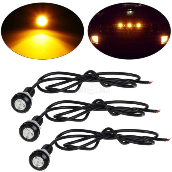 3x Universal Fit Amber LED Bulb With Screw Grille Light Kit For Car Truck SUV