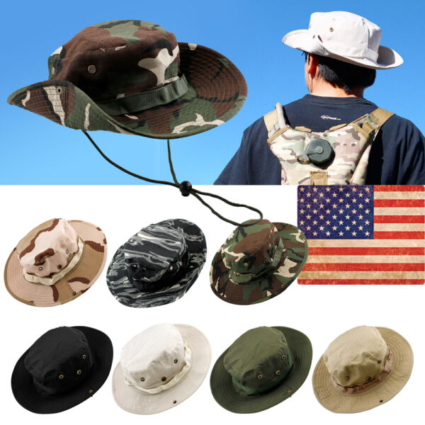 Bucket Hat Boonie Hunting Fishing Outdoor Men Cap Washed Cotton NEW W STRINGS