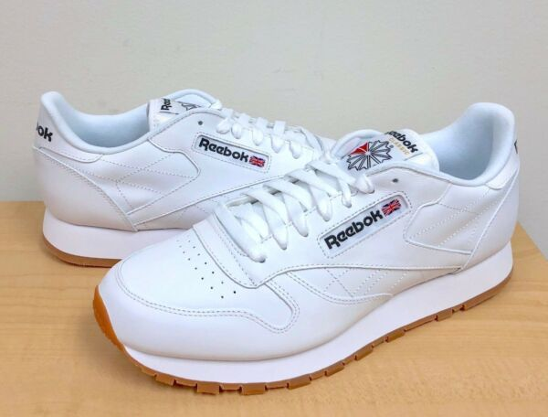 MENS REEBOK CLASSIC CL LTHR White/Gum 49797 ATHLETIC RUNNING