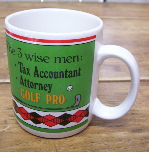 3 Wise Men Tax Accountant Attorney Golf Club Pro Coffee Mug Autographed Papel