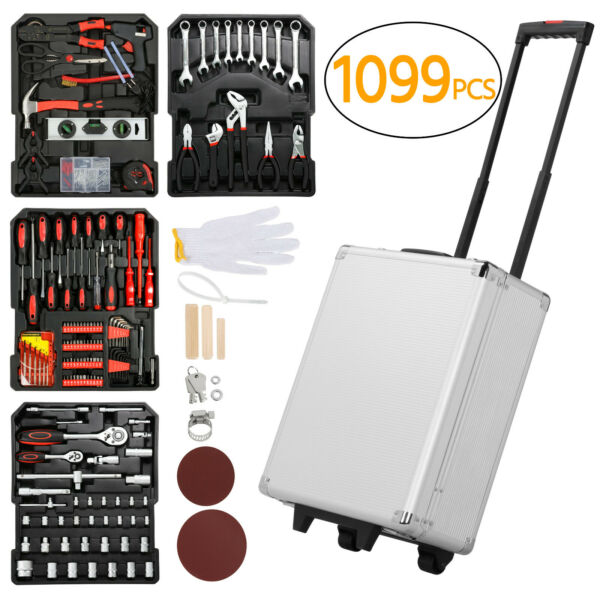 799 PCS Tool Kit Mechanic Set Box Case Organize Castors Toolbox Trolley Keys