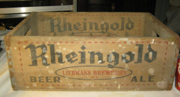 ANTIQUE RHEINGOLD BEER BAR BREWERY WOOD ART BOX CRATE BOTTLE CARRIER SIGN SHELF