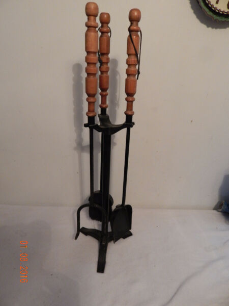 4 Piece fireplace tool Quality set Tall Wood Handles Black