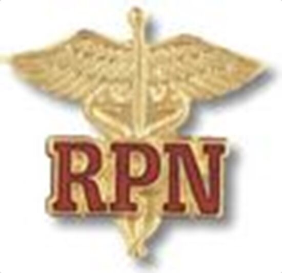 RPN REGISTERED PRACTICAL NURSE CADUCEUS UNIFORM COLLAR FIRE HEALTH BADGE PIN