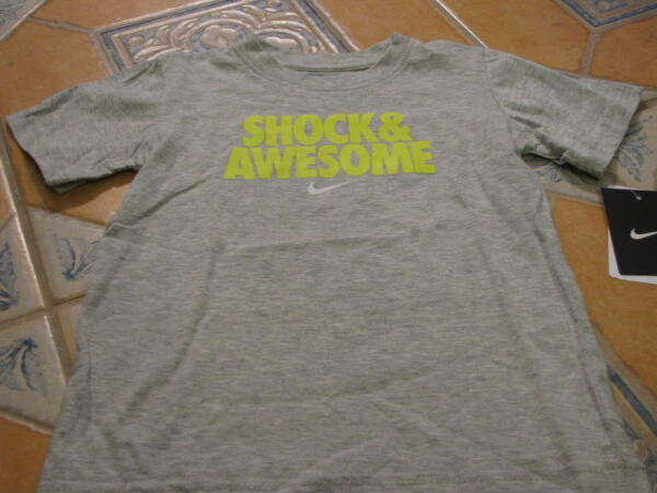 Boy's youth Nike T shirt NEW 4 kids smack Talk Shock & Awesome NWT grey heather