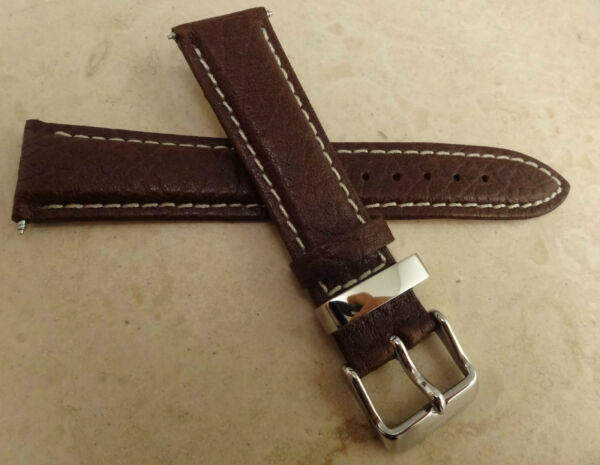 New Timex Brown 20mm Watch Band Silver Tone Buckle High Contrast White Stitching