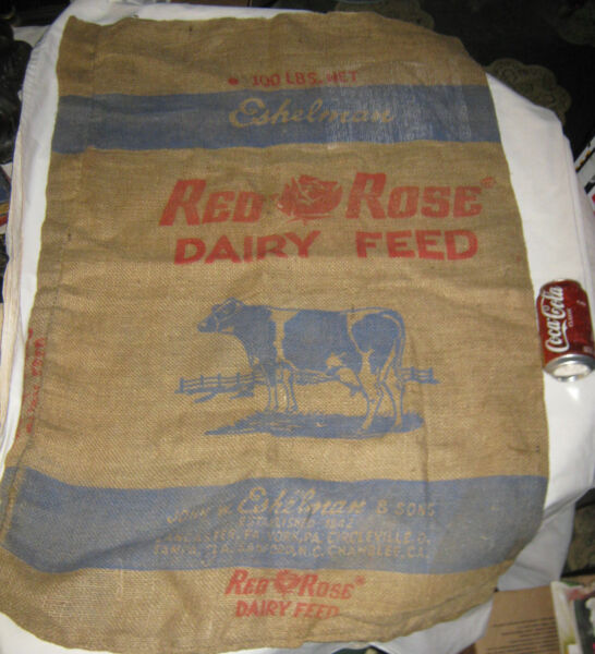 #2 ANTIQUE COUNTRY DAIRY MILK COW RED ROSE FEED SEED BURLAP SACK SIGN ART BAG US