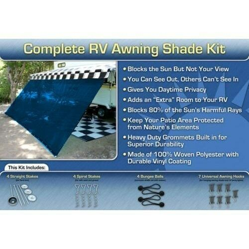 RV Awning Shade Kit RV Shade Complete Kit 10x16 Blue
