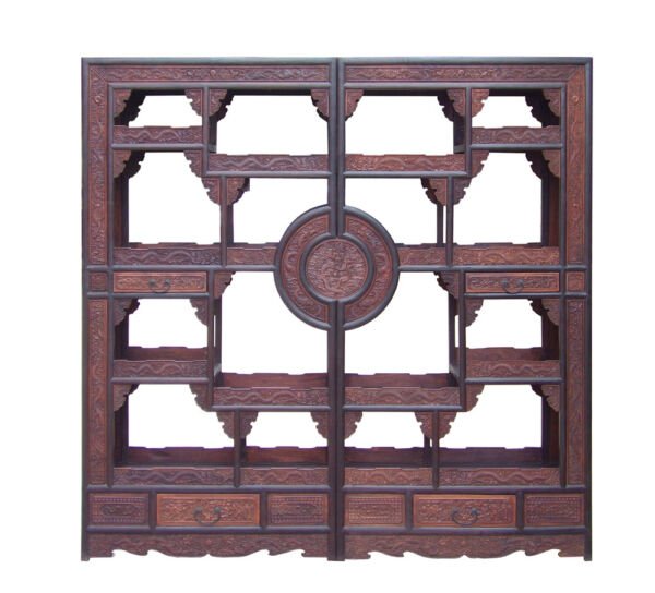 Chinese Pair Rosewood Display Curio Cabinet Room Divider cs1499