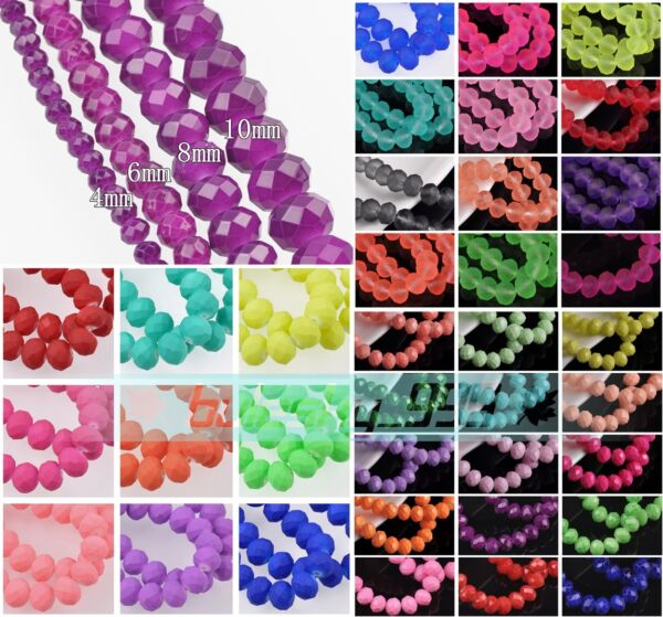 Wholesale Coated Crystal Glass Rondelle Faceted Loose Spacer Beads DIY Jewelry