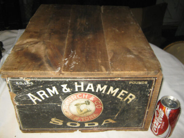 ANTIQUE PRIMITIVE NY COUNTRY KITCHEN ARM HAMMER BAKING SODA SIGN WOOD BOX CRATE