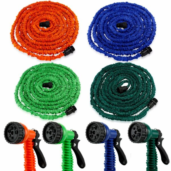 Deluxe 25 50 75 100 Feet Expandable Flexible Garden Water Hose w Spray Nozzle