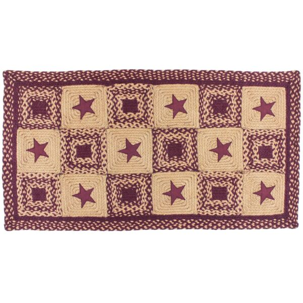Country Star Wine Rectangle Braided Area Rug Jute Fiber 20