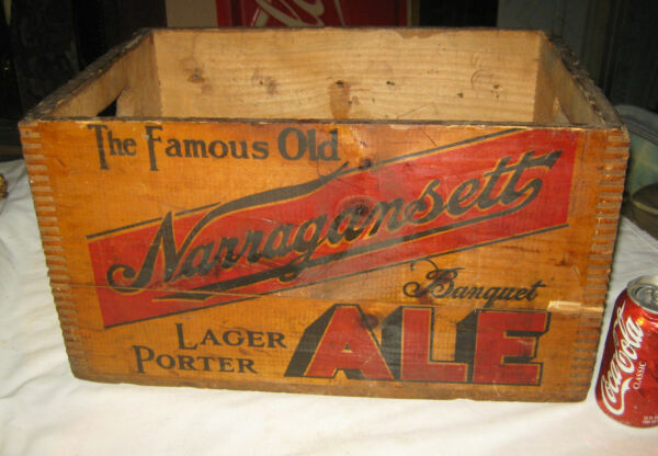 ANTIQUE NARRAGANSETT ALE BEER WOOD GLASS BOTTLE ART ADVERTISING SIGN BOX CRATE