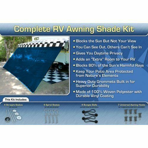 RV Awning Shade Kit RV Shade Complete Kit 8x12 Blue