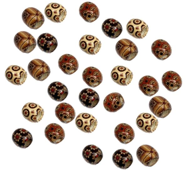 90 Wood Large Hole Macrame Beads 16mm Mixed Colors Painted