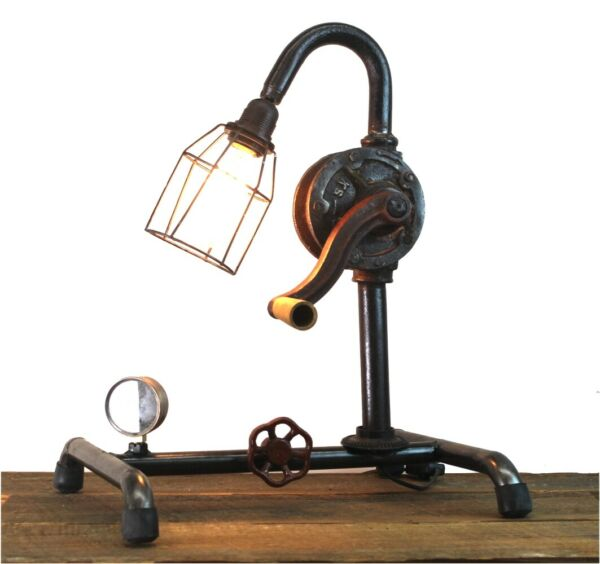 Factory Hand Crank Table Lamp with Real Old Parts Steampunk