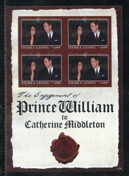 SIERRA LEONE  ENGAGEMENT OF PRINCE WILLIAM & KATE MIDDLETON  IMPERF SHEET I  NH $34.95