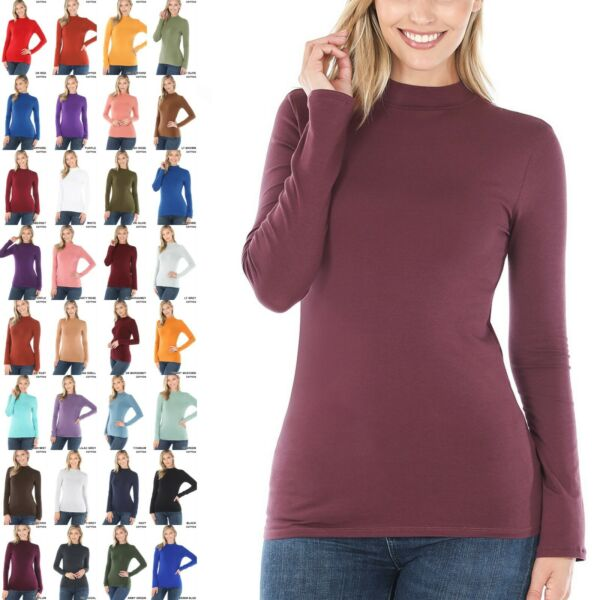 COTTON Mock Neck Long Sleeve Tee Soft Stretch Solid Black White Turtle Neck Top