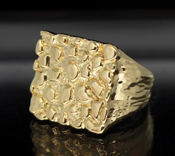 Nugget 14k Gold Plated Square Pinky Hip Hop Fashion Ring Size 5-13