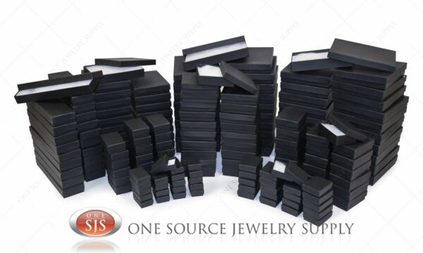 Black Matte Kraft Cotton Filled Gift Boxes Jewelry  Box Lots of 12~25~50~