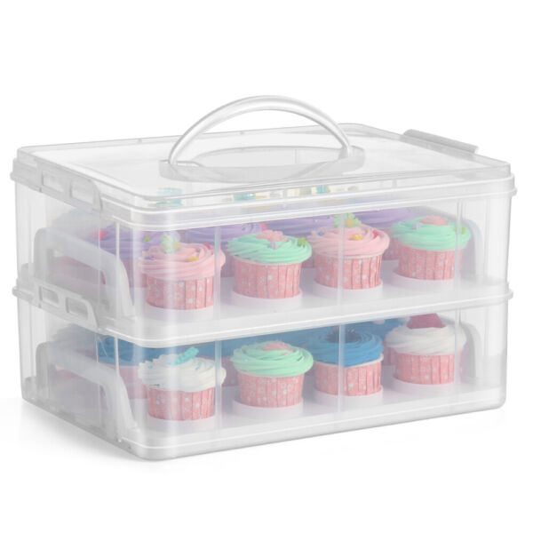 Cupcake Carrier Holder Container Box Plastic Storage Basket Taker Courier Clear