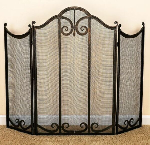 FIREPLACE SCREENS quot;HIGHCLEREquot; 3 PANEL FIREPLACE SCREEN BURNISHED GOLD FINISH