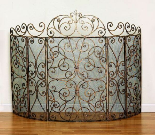quot;SOMERSET MANORquot; 5 PANEL SCROLL DESIGN FIREPLACE SCREEN ANTIQUE GOLD FINISH