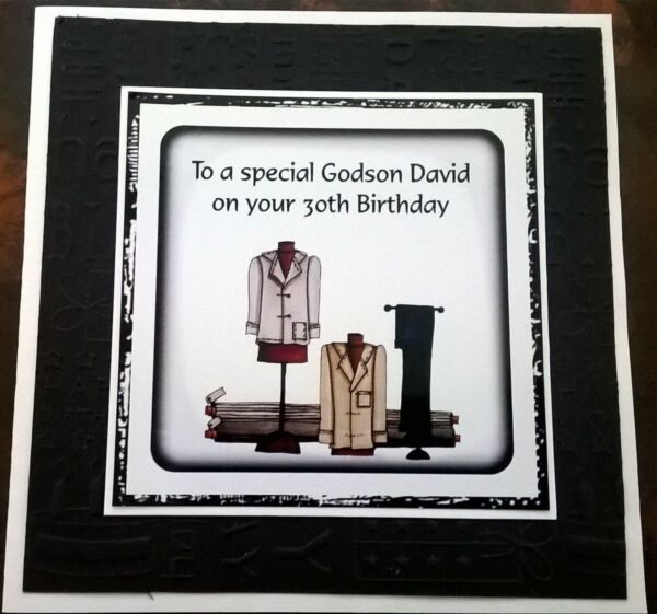 Mens Handmade Personalised Birthday Card Suit ANY AGE Shop Fashion Clothes