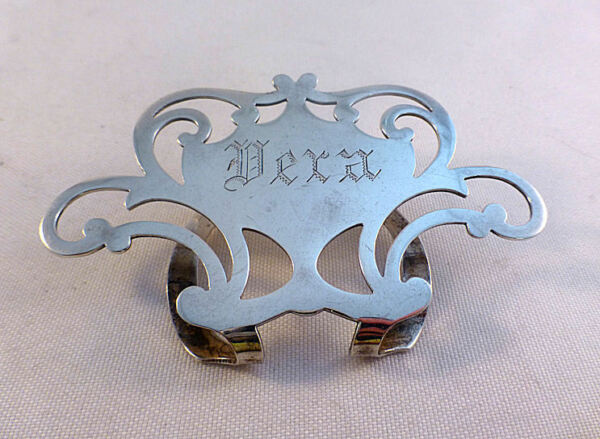 Fancy Large Sterling Napkin Clip Mono#x27;D Vera $149.99