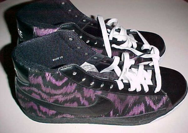 Nike Swoosh Black Purple Tiger Stripes Sneakers High Top Shoes US Size 12 New