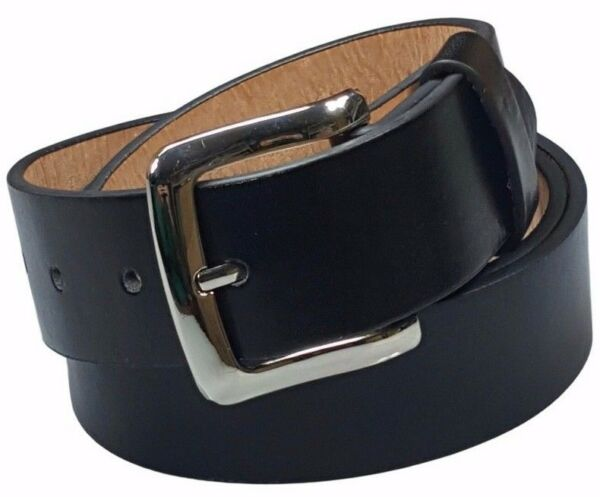 Men's Plain Black Leather Casual Dress Belt With Removable Snap On Silver Buckle