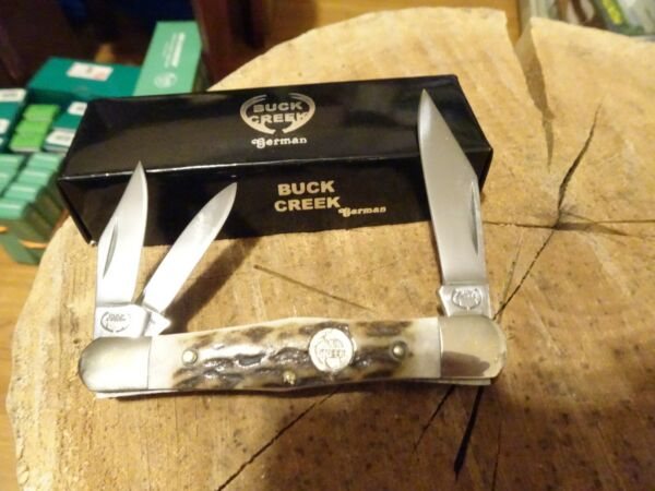 BUCK CREEK 3 1 2quot; CLOSED STAG HANDLE WHITTLER HAND MADE IN GERMANY 1095 S.S.